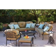 Darlee Elisabeth Cast Aluminum Deep Seating Patio Conversation Set With Ice Bucket Insert. This patio conversation set features the signature floral backs found in the Elisabeth collection. The cast aluminum frame is lighter in Outdoor Sofa Sets, Outdoor Seating Areas, Outdoor Living, Patio Sets, Outdoor Spaces, Deep, Recycling, Patio Furniture Sets, Recycled Furniture