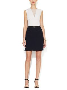 REBECCA TAYLOR - Tweed Mini Skirt with Leather Trim
