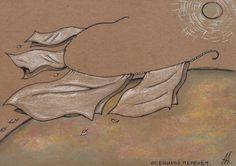 Осенний перелёт (Autumn flight) (210*148, крафтовая бумага, маркеры, мел, соус, пастель)