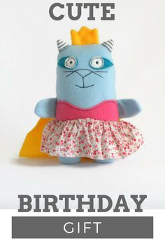 Cute birthday gift for girks. Princess plush, princess handmade plush toy, cat toy. Handmade by Liron Shebs at HappyLI, To order contact me through Etsy. Internetional shipping is available. You may order different colors or add the baby's name. Custom order is available, See also HappyLiron.etsy.com