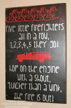 Firefighter Kids, Firefighter Nursery, Firefighter Decor, Firefighter Wall Art, Custom Wood Sign - Five Little Firefighters Firefighter Bedroom, Firefighter Family, Firefighter Decor, Fireman Room, Firefighters Wife, Female Firefighter, Fire Truck Room, Fire Truck Nursery, Boy Room