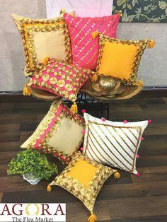 Handmade Cushion Covers, Cushion Cover Designs, Handmade Cushions, Decorative Pillow Covers, Pillow Crafts, Diy Pillows, Diwali Decorations At Home, Diwali Diy, Diy Home Crafts