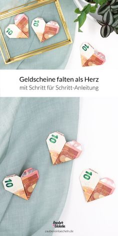 Folding banknotes as a heart: a magical idea for money gifts Step by step instructions for folding banknotes as a heart. The beautiful origami idea also works w Diy Birthday, Birthday Presents, Don D'argent, Diy Gifts, Unique Gifts, Wine Gift Baskets, Holiday Break, Origami Tutorial, Origami Art