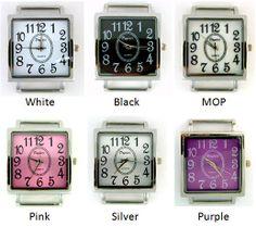 "# MSQ ""Dagicci"" Solid Bar Ribbon Watch Face  Width = 1.25""   Height = 1.75""    Bar Width = .75"""