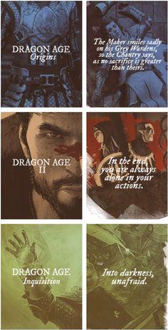 Dragon Age: Origins, Dragon Age 2, and Dragon Age: Inquisition