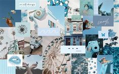 Blue Collage | Aesthetic Desktop Wallpaper, Cute Desktop