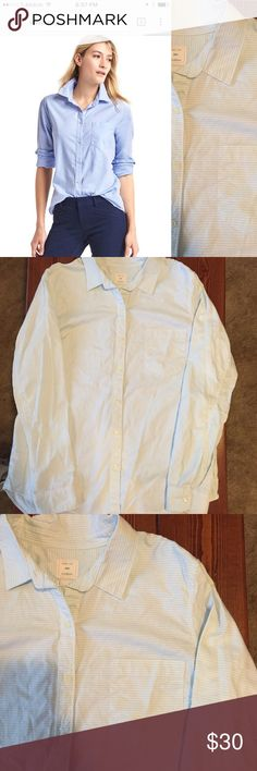 """NWOT Gap fitted boyfriend Oxford shirt. Size M New without tags. Gap fitted boyfriend oxford shirt. Light green and white pinstripes. Size medium. Despite """"fitted"""" in the name, the boyfriend style shirt is a looser fitting shirt than most button-downs and has a longer hem. GAP Tops Button Down Shirts"""
