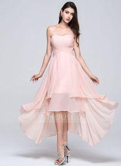 A-Line/Princess Sweetheart Asymmetrical Ruffle Zipper Up Strapless Sleeveless No Pearl Pink Spring Summer Fall General Plus Chiffon Bridesmaid Dress