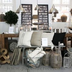 I love the color combo and style of these decor items - neutral, casual yet sophisticated - perfect