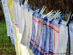 Vintage linens soaking up the sun