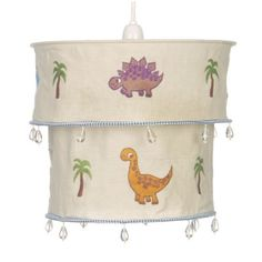Dino easy fit fabric 2 tier shade. Attaches to an existing pendant without the need for wiring. Suitable for the younger dinosaur fan as these dinosaurs are non scary - just cute! Pin it here