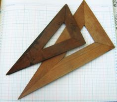 Vintage Wooden Craftsman Drafting Triangle Tools, Set of Two