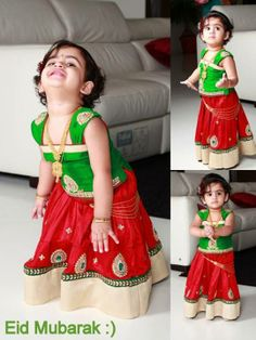 Red lahenga with gold border and patch work. Comes with a green blouse with cap sleeves. For little girls!  Golden Threads by Kavita and Dhanya Gutta.