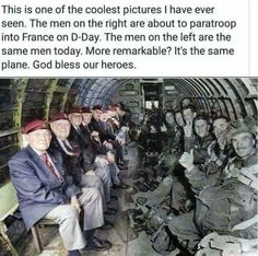 World War II paratroopers sitting across from themselves in the same plane that dropped them into Normandy on D-Day. Thank you for your brave service to our nation. D-Day - June 1944 Real Hero, History Facts, History Photos, World War Ii, Good People, In This World, Decir No, Cool Pictures, Funny Pictures