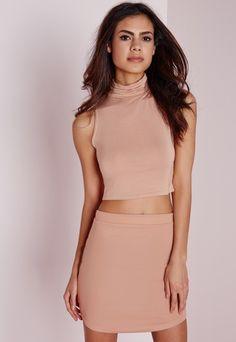 Ponte Curve Hem Mini Skirt Nude - Skirts - Missguided