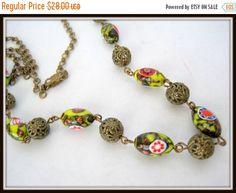 Millefiori Bed  Necklace  Glass Beads  26 Inch by VintagObsessions