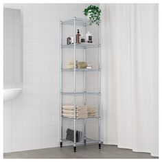 OMAR 1 section shelving unit IKEA Easy to assemble – no tools required. Also stands steady on an uneven floor since the feet can be adjusted. Ikea Pantry, Pantry Shelving, Pantry Storage, Wire Shelving, Kitchen Shelves, Old Chairs, Vintage Chairs, Kitchen Chairs, Ikea Kitchen