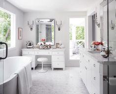 Suzie: Martensen Jones Interiors - Master bathroom with soft gray walls paint color, marble hex ...