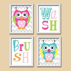 Owl Bathroom Canvas Or Prints Funky Whimsical Owls Girl Owl Theme Sister Brother Shared Bath Wash Brush Rules Child Kid Set Of 4 Decor