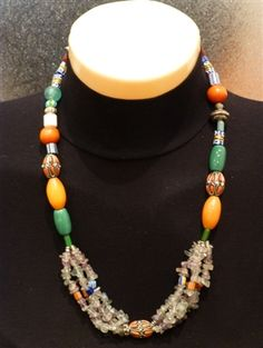 Stylish African Necklace with Earrings made using Ancient Trade Beads, Amethyst, Ethiopian Silver, Mali Amber.
