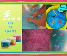 Inside or outside play - one thing is for sure - hours of guaranteed unlimited fun. 1 packet to turn the water into slush and another packet to turn it back to water.  www.acornkids.com/learningfun janavdmerwe8@gmail.com Learning fun with Acorn kids on Facebook to place your order today.