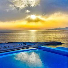 Your Kouros view⠀ 📷 via Mykonos Town, Hotel Suites, Greek Islands, Luxury Travel, Best Hotels, Sunsets, Traveling, Outdoor Decor, Summer