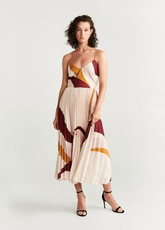 Pleated midi dress - f foParty Women Pleated Midi Dress, Dress Skirt, Moda Mango, Mango France, Robes Midi, Mango Fashion, Flare, Dresses Online, Tea Length