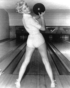 Bowling pin up her ass