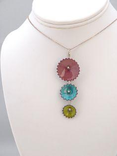 Enameled Copper Gears Necklace SOLD by michellelyczak on Etsy, $45.00