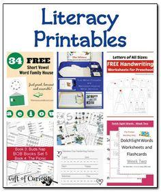 Literacy printables {Weekly Kids' Co-op} - Gift of Curiosity