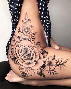 Side Thigh Tattoos Women, Hip Thigh Tattoos, Hip Tattoos Women, Side Tattoos, Body Art Tattoos, Foot Tattoos, Sleeve Tattoos, Tattoo Girls, Sexy Tattoos For Girls