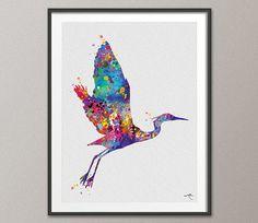 Blue Heron Watercolor Bird Painting Print Animal Art Print