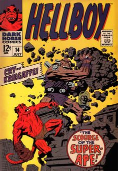 Mike Mignola, Comic book cover done Silver Age Marvel style (for a prop comic book used in the first Hellboy movie) Comic Book Artists, Comic Book Characters, Comic Artist, Comic Books Art, Mike Mignola Art, Hellboy Tattoo, Marvel Comics, Hellboy Comics, Dark Horse Comics
