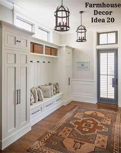 Modern Farmhouse Mudroom design in the foyer - Clutter-free Farmhouse Decor Ideas