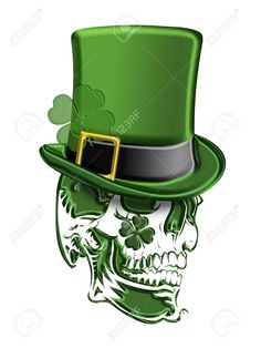 St Patricks Day Green Skull with Leprechaun Hat with Shamrocks Isolated on White Background Illustration Evil Leprechaun, Leprechaun Tattoos, Body Art Tattoos, Sleeve Tattoos, Wing Tattoos, Zodiac Tattoos, Tatoos, Shamrock Tattoos, Saint Patrick's Day
