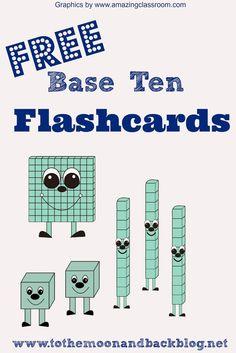 FREE Printable Base Ten Math Practice Flash Cards: