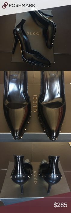 "Gucci Pelle S Cuoio Black Patent Heels NWT Never Worn. Stunning black Patent heels have small gold stud trim. Heel is 3.5"" inches high and shoe measures 10"" inches heel to toe. Comes with original box, dust bag and 2 extra heel caps. Style: Pelle S Cuoio Light Calf Nero Gucci Shoes Heels"