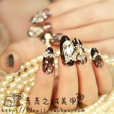 Aliexpress.com : Buy Stone pattern long design false nail . tantalising black from Reliable 3d nail sticker suppliers on Jessie's shop. $27.50