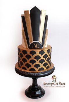 Art Deco Gold & Black  - Cake by Scrumptious Buns