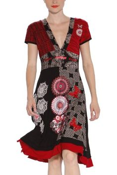 Nice black and red dress. V Neckless. Small sleeves. To put lot of differents prints Very good quality  COMPOSITION 55% coton, 45% polyester.