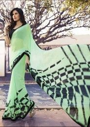 Casual Wear  Georgette Green Printed Saree