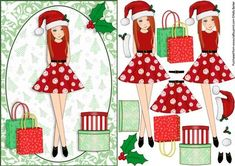 Christmas Shopping Boxes and Bags Red Head Decoupage on Craftsuprint - View Now!