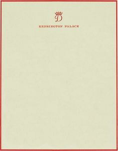 Stationery of Diana, Princess of Wales