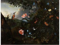 Mathias Calzetti Withoos, 1627 Amersfoort – 1703 Hoorn, zug.  WALDSTÜCK MIT EISVOGEL Öl auf Leinwand. Doubliert. 80 x 103 cm. Den rechten Bildvordergrund dominiert ein üppiges Waldstillleben an einem Hang, der...