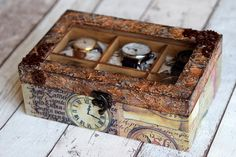 Handmade Pillows, Handmade Items, Home Decor Boxes, Watch Storage Box, Watch Box, Wooden Boxes, Decoupage, Watches For Men, Decorative Boxes