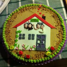 New home cake!!!! (note the arm in plaster cast... :P )