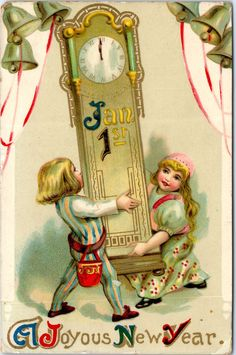 New Years Day - Children, Grandfather Clock  - Postcard - Vintage