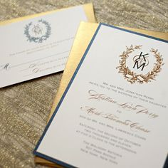 Printable Wedding Invitations Monogram Wedding Invitations Gold Wedding Invitations Digital Files for Self-Print. $45.00, via Etsy.