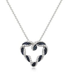 Another great find on #zulily! Blue Diamond & Silvertone Braided Heart Pendant Necklace #zulilyfinds
