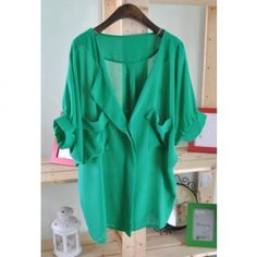 Women's Chiffon Shirt With V-Neck Bat-Wing Short Sleeve Flounce Design--Super cheap clothing on this site! Sweater Weather, Just In Case, Just For You, Look 2015, Vogue, Chiffon Shirt, Sammy Dress, Up Girl, Look Chic